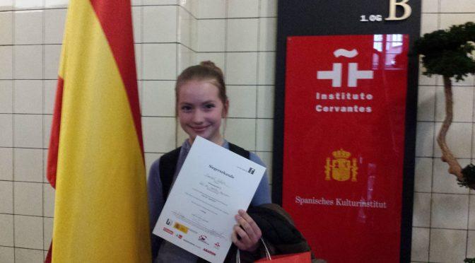Chantal aus der 7.2 gewinnt spanischen Lesewettbewerb